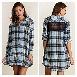 UMGEE Shirt Dress Blue Plaid Lace Trim S M